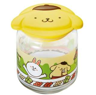 WTT - LINE FRIENDS X SANRIO CHARACTERS GLASS CONTAINER COLLECTION - POMPOMPURIN
