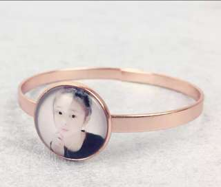 Customise Photo Clip-on Rose Gold Tone Bangle Bracelet Watch