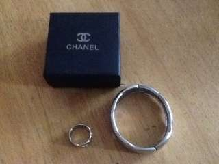 Chanel inspired bangle and ring set - stainless