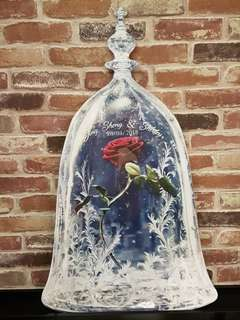 Beauty & The Beast Theme Rose Jar Drop Frame Guestbook for Wedding