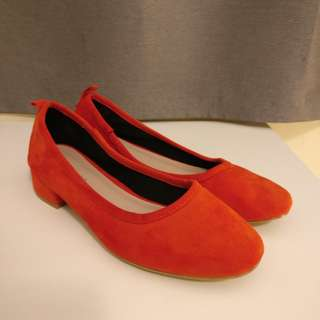 New Topshop Block Heels 37 orange Suede