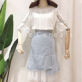 TC2252 Korea 2 Pieces Lace Top + High Waist Denim Organza Skirt (Set)