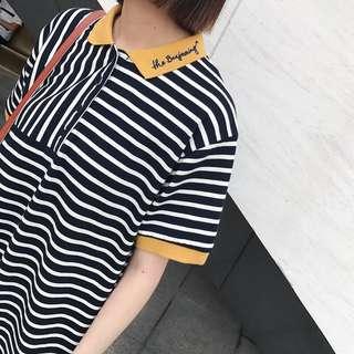 🚚 撞色polo裙 休閒風格 清新條紋T恤 小男孩中長版 polo衫 刺繡襯衫
