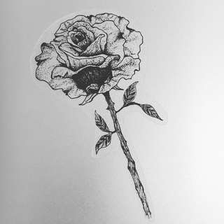 Hand drawn rose stalk sticker