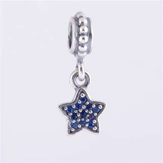 Code SS123 - Blue Star Dangle 100% 925 Sterling Silver Charm, Chain Is Not Included