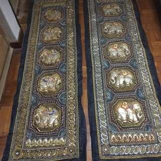 Vintage Burmese Thailand Malaga wall Tapestry Sequined Embroidery