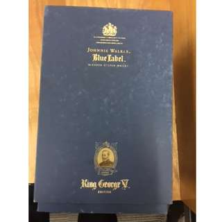 Collectible Johnnie Walker Blue Label King George V Edition whisky. Old collectible box in original condition with certification.