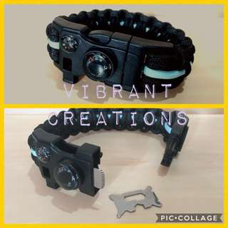 Paracord with fire starter and multi-tool buckle for hiking and camping