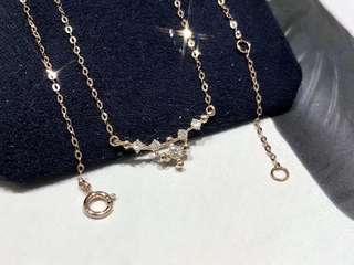 微笑的影子💎天然鑽石18k金頸鏈100%new女朋友生日紀念日禮物