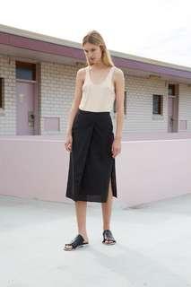BNWT Third Form Black Linen Skirt | Come Round Wrap skirt size XS