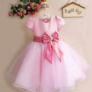 Shimmering Butterfly Bow Girls Dress Pink