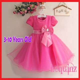 Shimmering Butterfly Bow Girls Dress Hot Pink