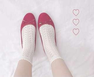 日系白色鏤空襪