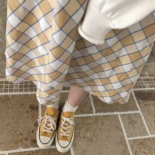 【現貨】日系清爽黃白格紋棉麻半身裙 古著 古着