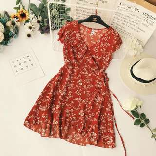 Hannah Red Floral Self Wrap Dress