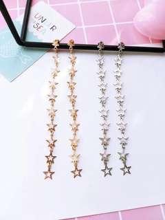 Ladies Korean Silver Star Chain Pendant Drop Earrings