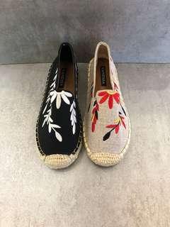平底刺繡麻編鞋
