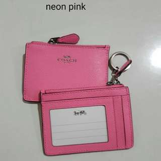 Coach Mini Skinny ID Case in Neon Pink Crossgrain Leather size 11x8 With key ring