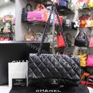 Chanel Black Quilted Lambskin Leather 3 Accordion Flap Bag