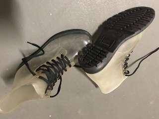 Translucent lace rain boots