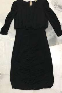 Burberry ruche black dress