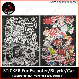 Sticker for Escooter, Bike, Motorbike and Car [ Water Proof, More than 1000 designs ]
