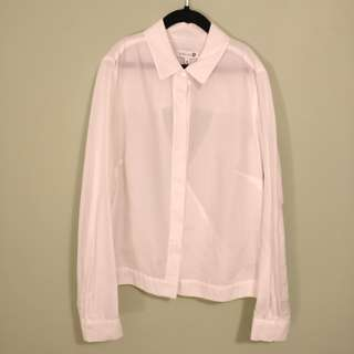 Dion Lee White Collared Shirt | Size 6 silk blend