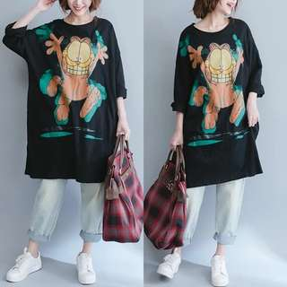 PO Garfield Print Large Loose Long Top