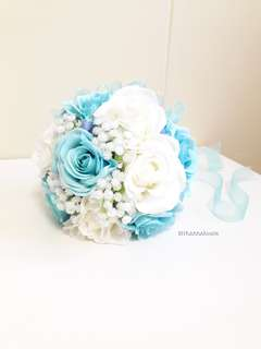Silk Flower Bridal Bouquet 👰 Sweet Blue and White