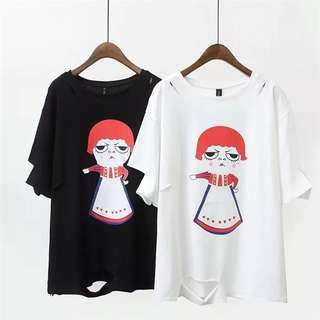 (XL~4XL) Korea Fashion hole printing girl short-sleeved T-shirt in the long paragraph shirt