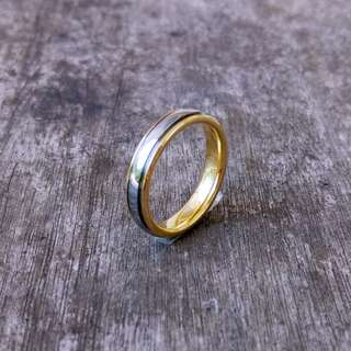 Tungsten Ring, Tungsten Wedding Band - Polished Silver Wedding Band/Ring with Yellow Gold Plated Interior