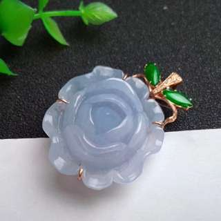 🍍18K Gold - Grade A 水润 Lavender Peony Flower 花开富贵 Jadeite Jade Pendant🍍