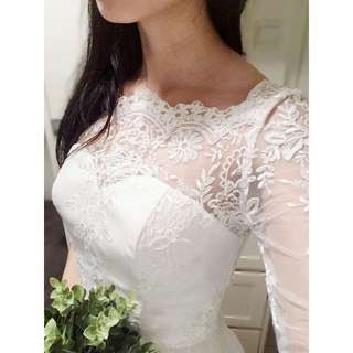 Chi Chi London Three-quarter Sleeved Bardot Maxi Wedding Gown with Scallop Neckline