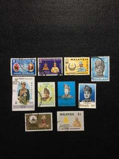 Malaysia- Royalty A Selection of 10 Agung and Sultan Stamps