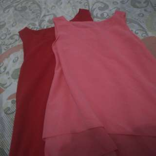 Pink and Red sleeveless top