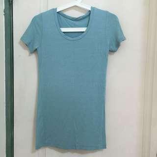 🚚 全新-藍綠舒適棉質彈性長版T