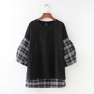 (XL~4XL) Summer Korean fashion lattice stitching round neck sleeves T-shirt