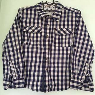 👔PONEY👔 Authentic Boys' Long Sleeve Navy Blue Checkered Shirt (Size: S)
