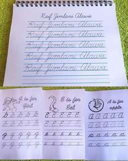 Customized Cursive Writing and Activity Worksheet for Grade 2 and Grade 3