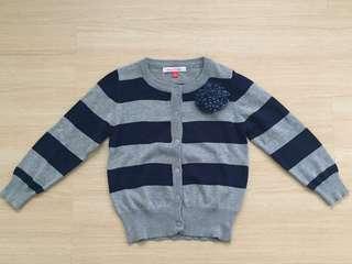 Navy Blue & Grey Stripey Cardigan
