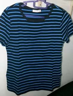 Patch Stripe T-shirt (Red/Blue)