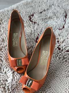 Salvatore Ferragamo Patent Orange Heels