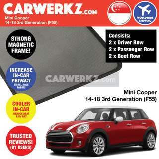 *QUALITY* Mini Cooper Hatchback 2014-2018 3rd Generation (F55) Customised Car Window Magnetic Sunshades 6 Pieces
