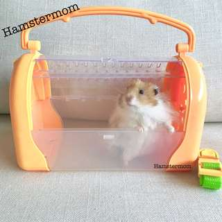 Orange Pet Carrier Portable Travel Cage for Hamster & Small Animals