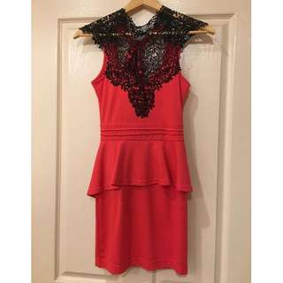 Red Peplum Dress with Black Lace neck detail - Size AU 6