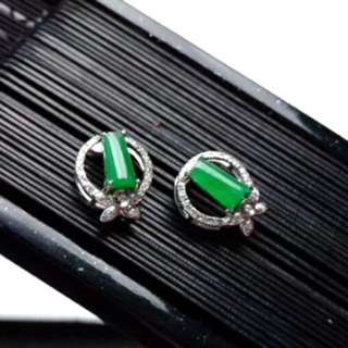 🍍18K White Gold - Grade A 冰种 Icy Green Cabochon Jadeite Jade Earrings🍀