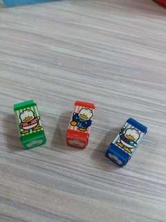 Pekkle 日本絕版1992年靚靚擦膠3個