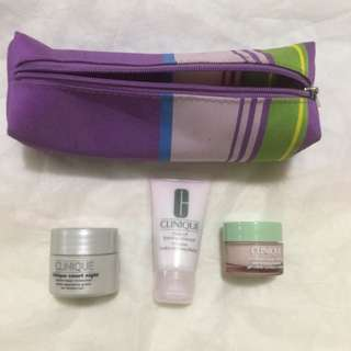 Authentic Clinique Skin Care Products Set with Cosmetic Kit