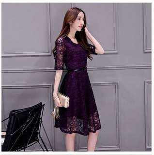 Lace Mesh Fit & Flare Midi Dress (KR095603)