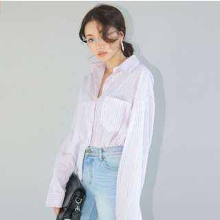 Stylenanda AUTHENTIC Loose Fit Striped Button-Down Shirt